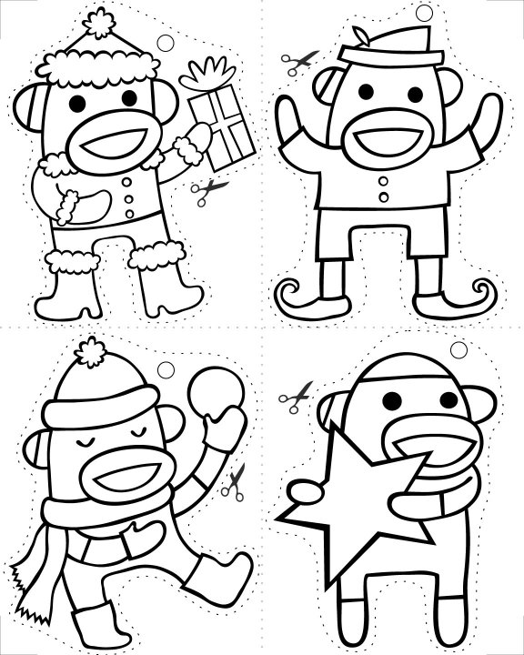 sock monkey christmas coloring pages  cece bell, coloring pages