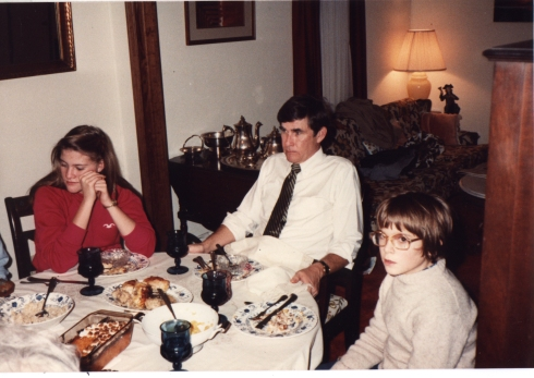 My sister Saray, Dad, and me. Les Miserables are done eating and are ready to keel over.